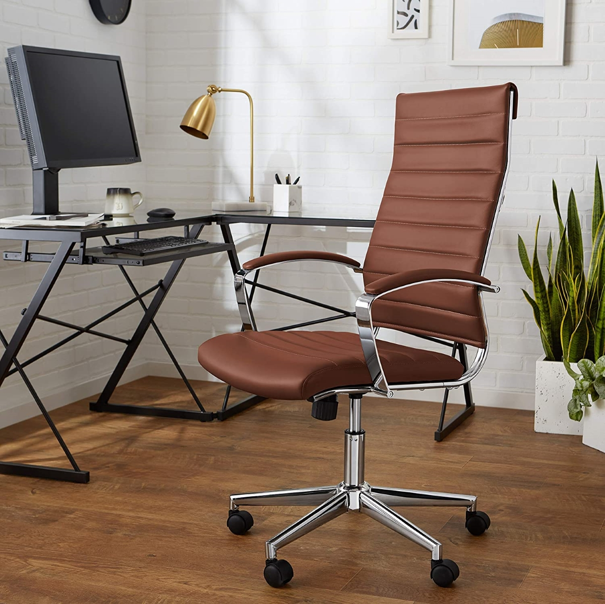 Modern-Brown-Leather-Office-Chair