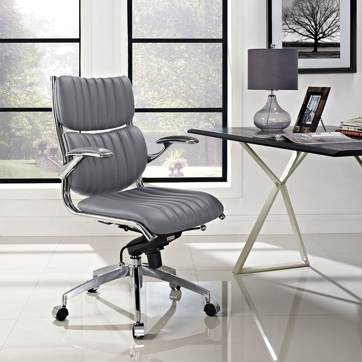 Modern-Grey-Leather-Office-Chair