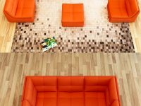 Orange-Faux-Leather-Sofa