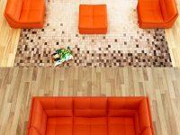 Orange-Faux-Leather-Sofa