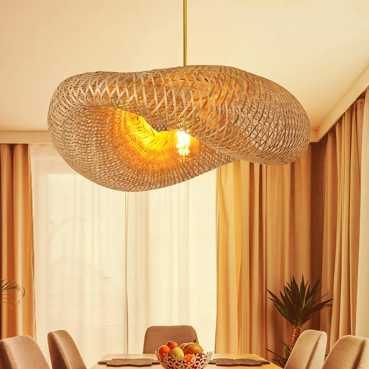 Sculptural-Woven-Bamboo-Pendant-Light