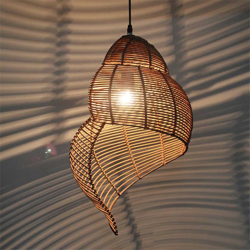 Shell-Shaped-Rattan-Pendant-Light