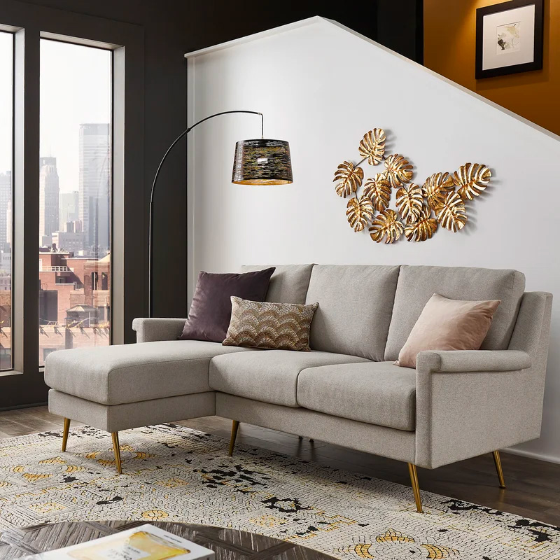 Small-Grey-Sectional-Sofa-With-Gold-Legs