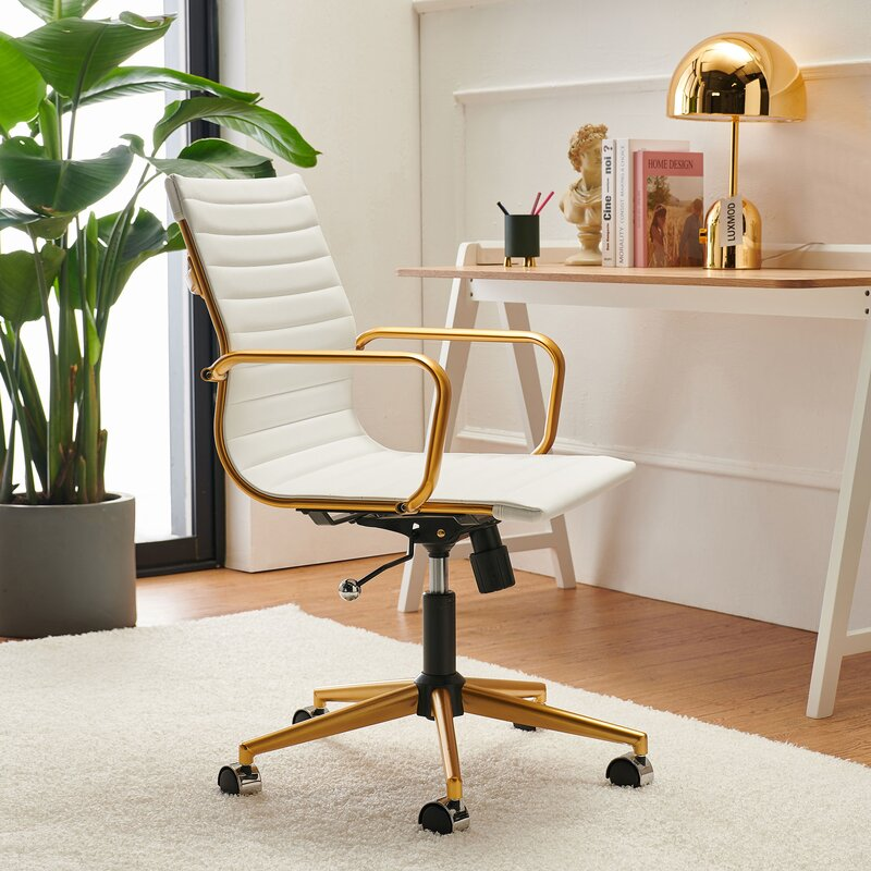 Statement-Minimalist-Leather-Office-Chair-in-White-and-Gold
