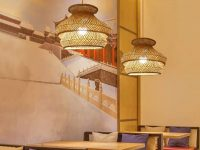 Triple-woven-bamboo-rattan-pendant-light