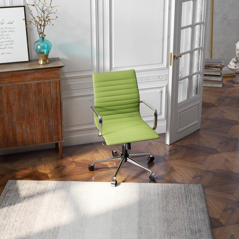 Versatile-Green-Minimalist-Leather-Office-Chair