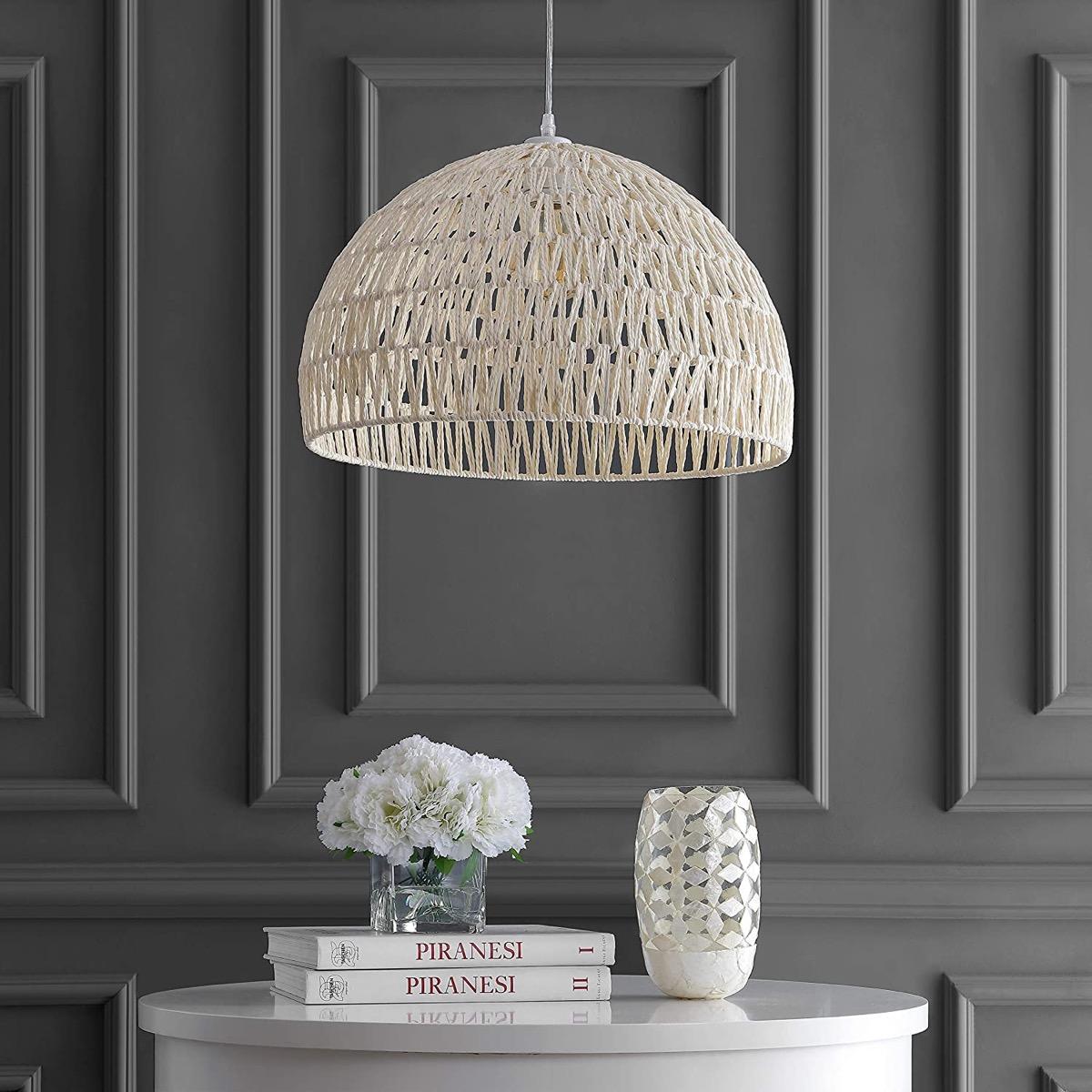White-Dome-Shaped-Rattan-Pendant-Light