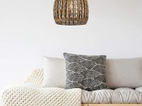 Wire-and-rattan-wicker-pendant-light