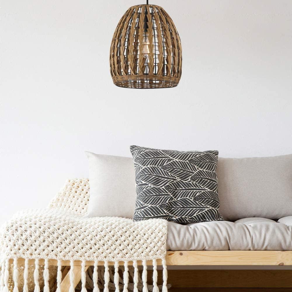 Wire-and-rattan-wicker-pendant-light