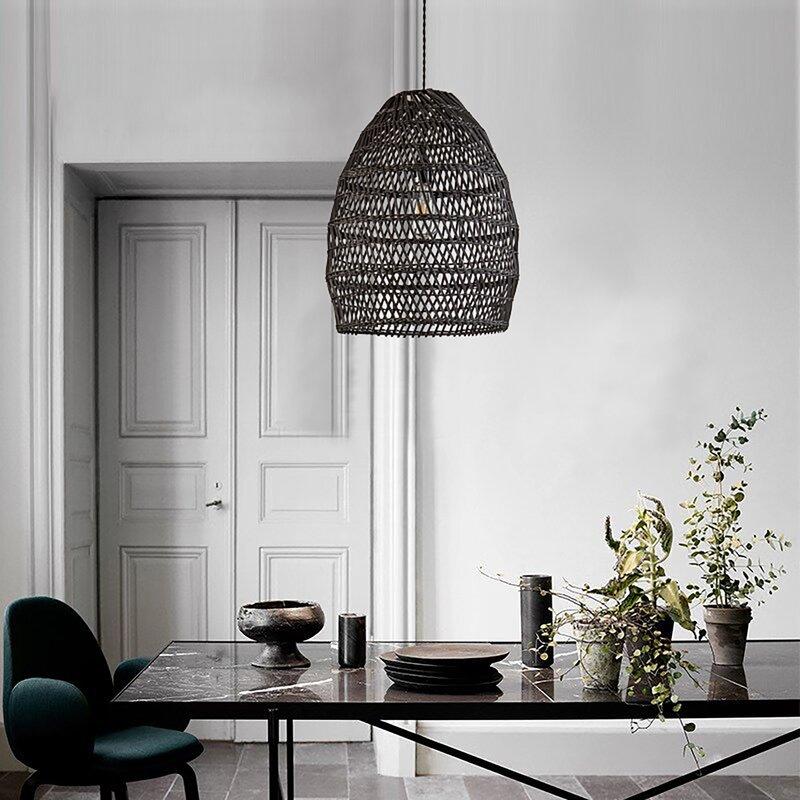 Woven-Black-Rattan-Pendant-Light