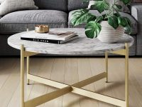 affordable-faux-white-marble-coffee-table-with-gold-cross-base-high-end-living-room-furniture-designs-on-a-budget