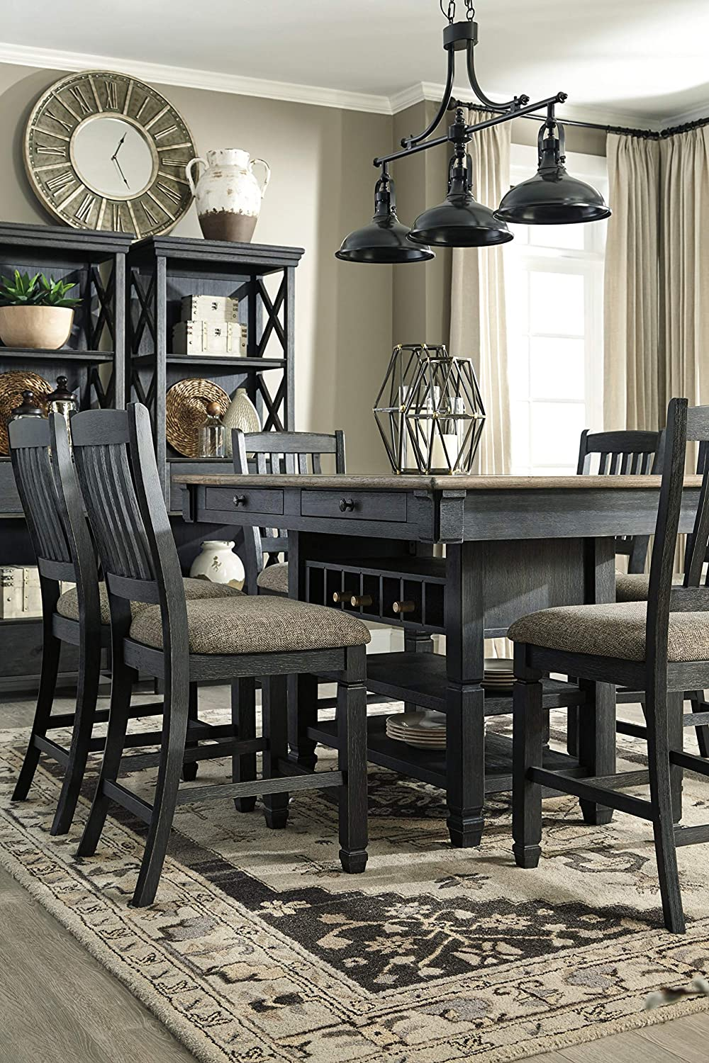 black-farmhouse-dining-table-with-built-in-storage-counter-height-with-open-shelves-built-in-wine-rack-drawers-wood-tabletop