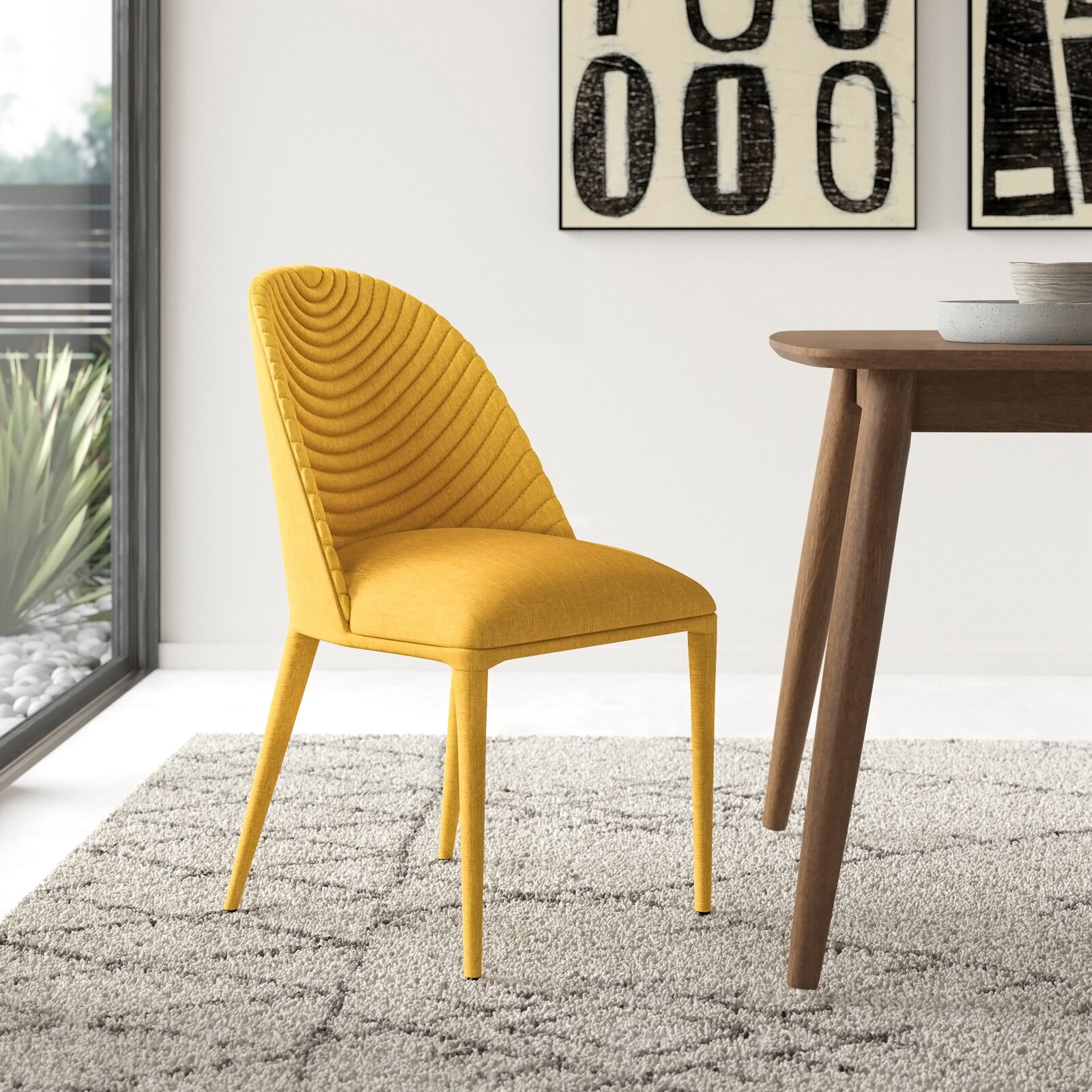 bright-yellow-upholstered-dining-chairs-unique-arched-tufting-fabric-covered-legs-arched-backrest-creative-dining-room-furniture-ideas