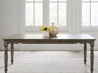 classic-farmhouse-dining-table-with-leaf-extendable-family-furniture-design-scalloped-edges-neutral-wood-finish-tapered-legs-beautiful-rustic-dining-room