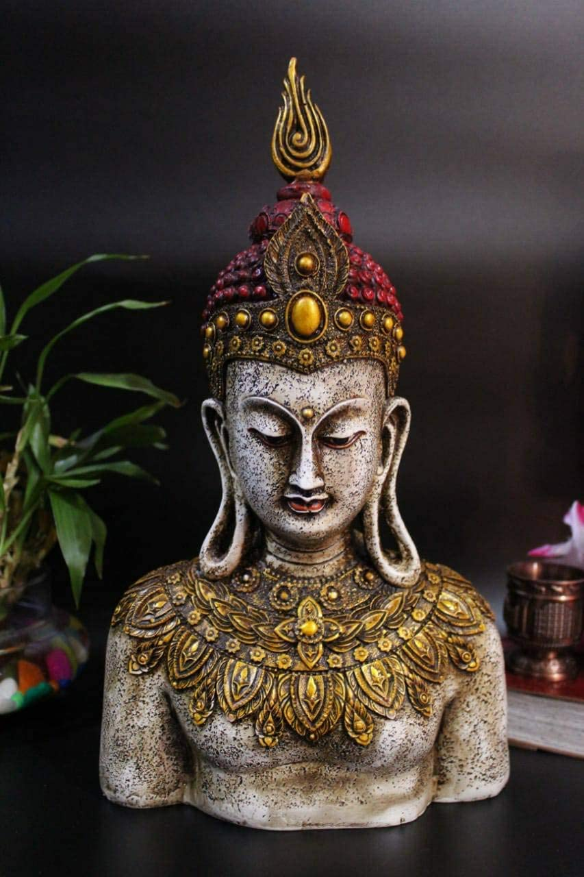colorful-elegant-buddha-head-statue-red-and-gold-with-stone-effect-12-inch-sculpture-intricate-buddhist-artwork-gift-ideas-for-modern-homes