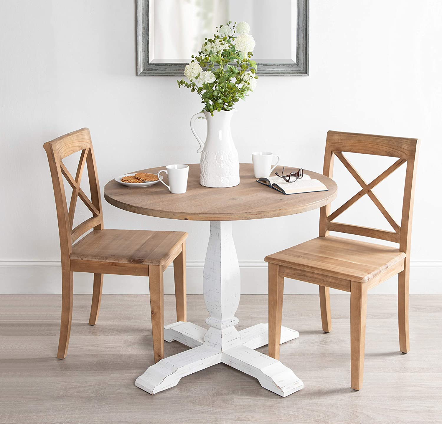cute-small-farmhouse-round-dining-room-table-whitewash-pedestal-base-natural-wood-top-fun-furniture-ideas-for-eat-in-kitchen-breakfast-nook