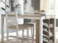 distressed-white-farmhouse-dining-table-counter-height-built-in-wine-rack-and-shelves-small-space-dining-room-furniture-design-ideas