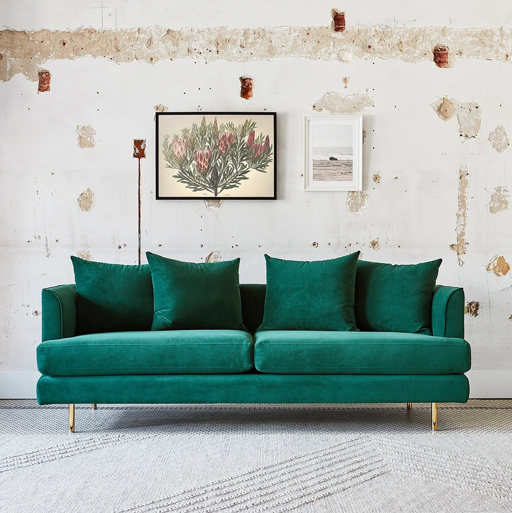 emerald-green-small-sofa-for-bedroom-luxurious-space-saving-furniture-for-sale-online-velvet-upholstery-gold-legs