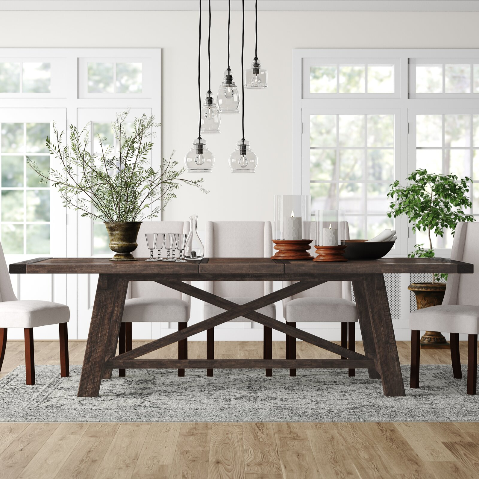extendable-farmhouse-dining-table-trestle-base-thick-solid-acacia-wood-construction-dark-finish-seats-six-to-eight-with-included-leaf