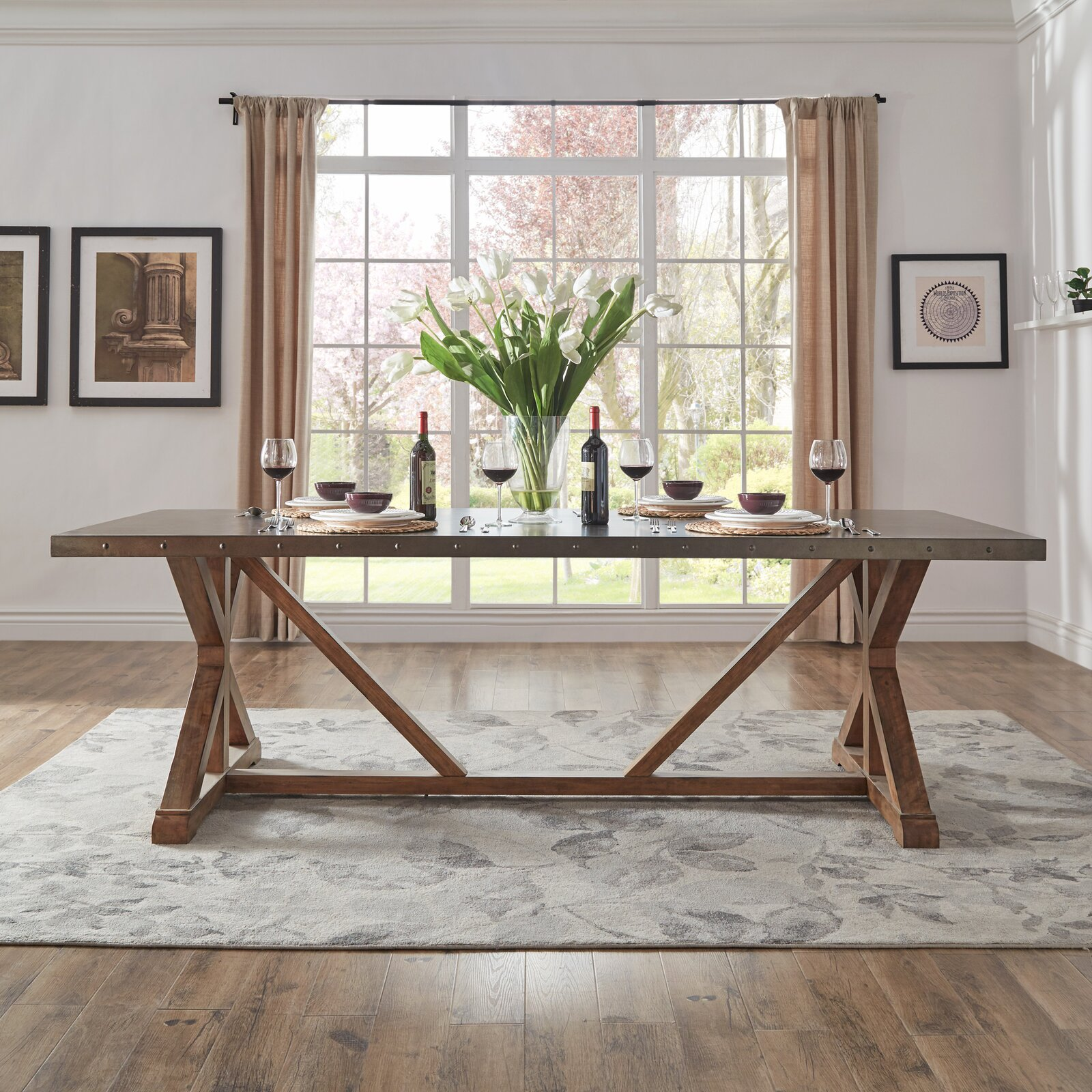 farmhouse-dining-room-table-with-stainless-steel-tabletop-unique-95-inch-seats-10-guests-rustic-industrial-furniture