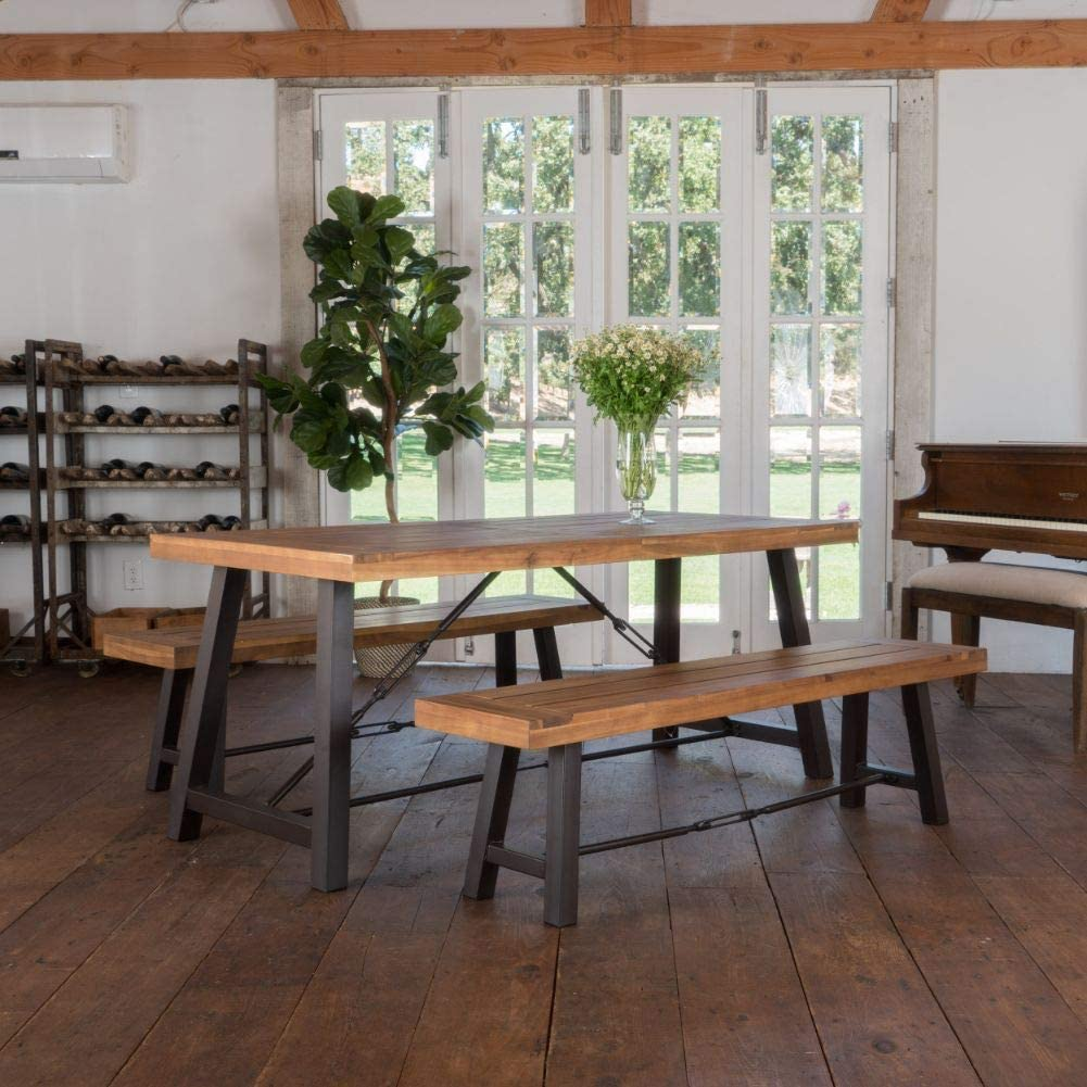 farmhouse-dining-table-with-bench-metal-stretchers-unique-modern-rustic-furniture-ideas-for-country-industrial-decor