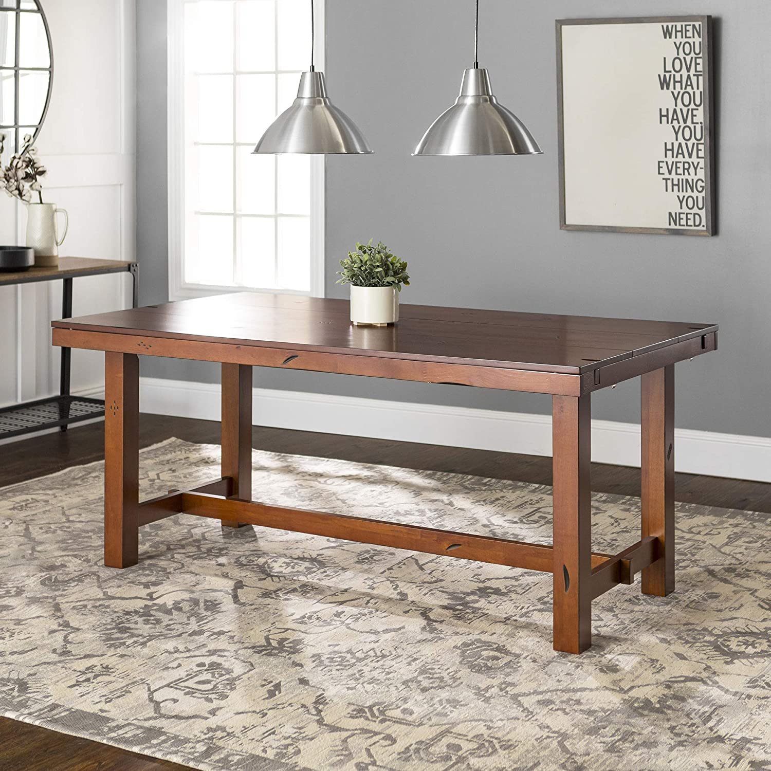 farmhouse-extendable-dining-table-96-inch-tabletop-burnished-warm-finish-removable-end-leaf-design