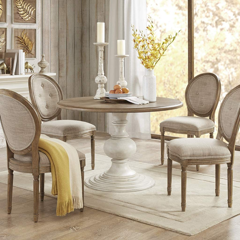 farmhouse-pedestal-dining-table-turned-distressed-white-base-wood-top-french-country-furniture-design-ideas-for-rustic-dining-room
