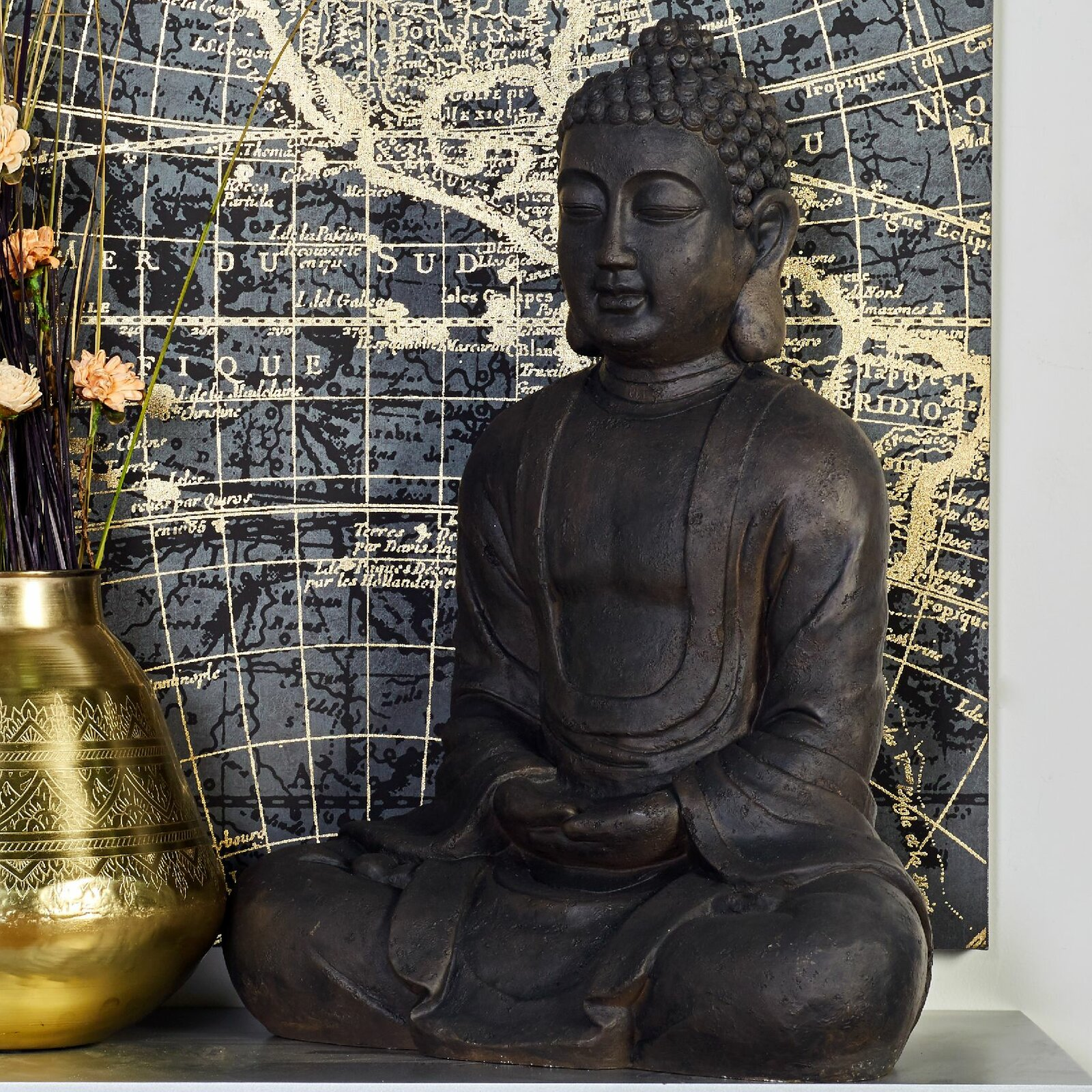 large-buddha-statue-for-spiritual-home-interior-inspiring-polystone-sculpture-dark-black-finish-modern-meditation-corner-ideas
