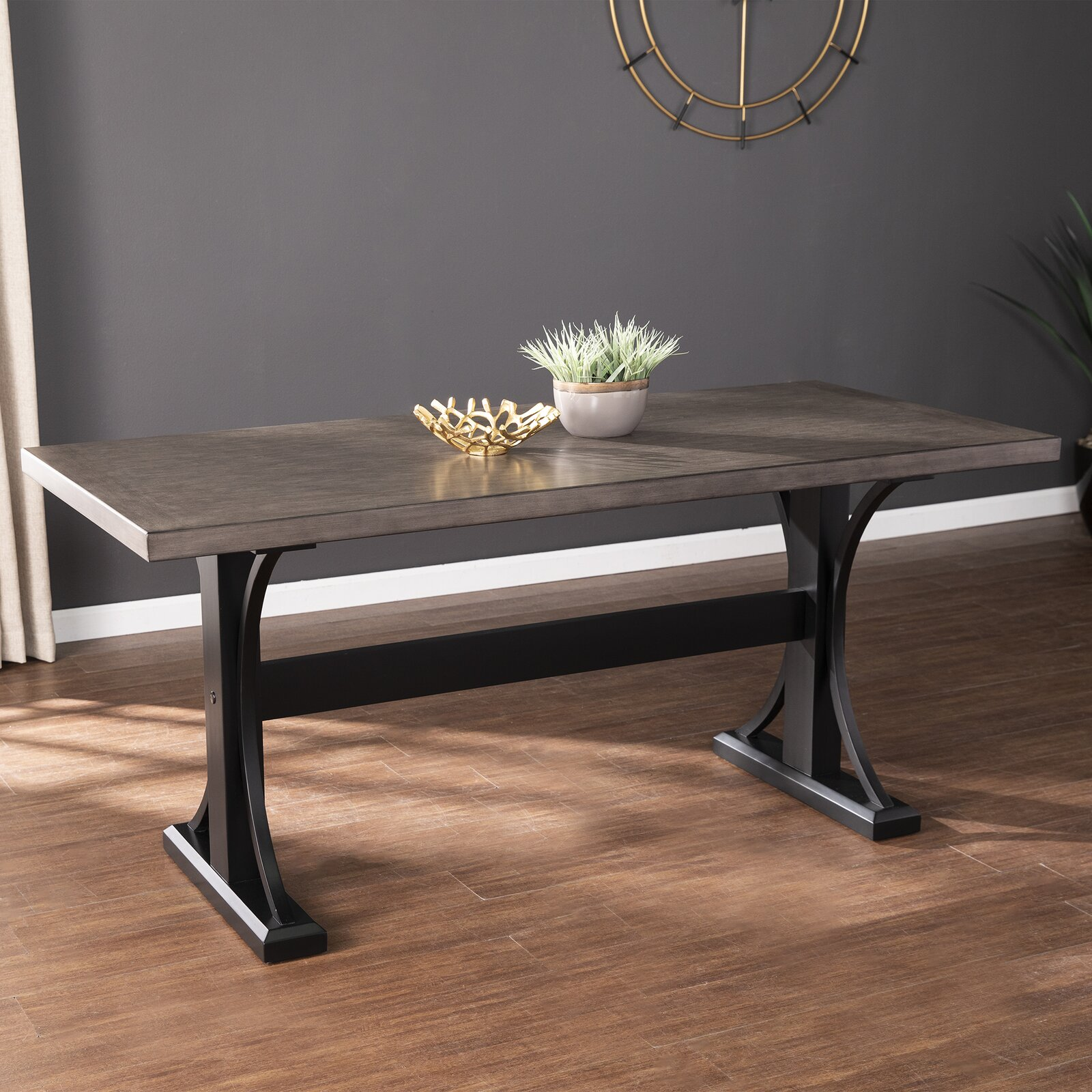 long-narrow-farmhouse-dining-table-black-trestle-base-neutral-wood-tabletop-67-inches-long-30-inches-wide-small-space-dining-furniture-ideas
