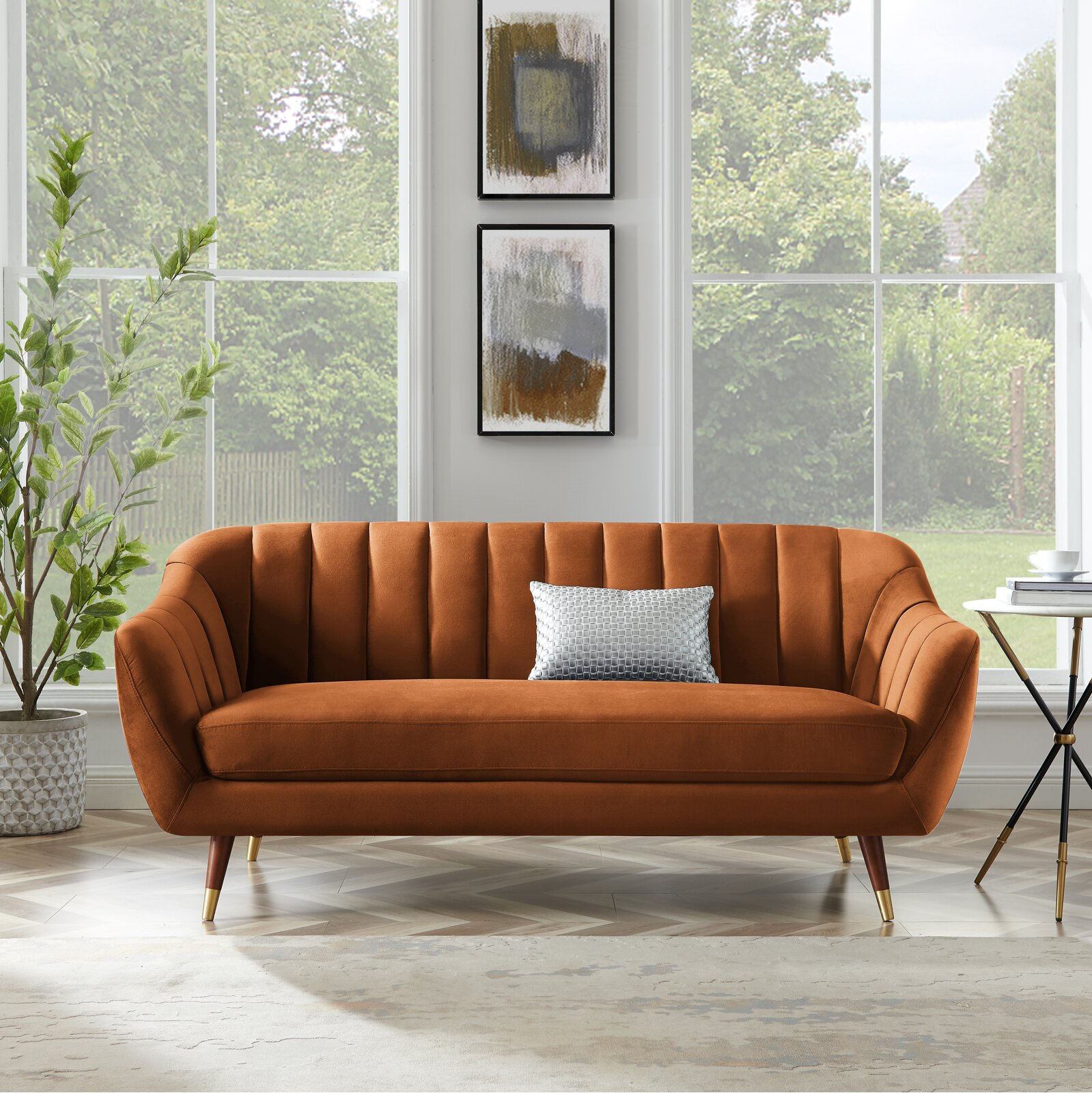 luxurious-orange-sofa-for-small-spaces-channel-tufted-cabriole-back-bench-seat-72-inch-width-mid-century-modern-furniture-for-living-room-bedroom