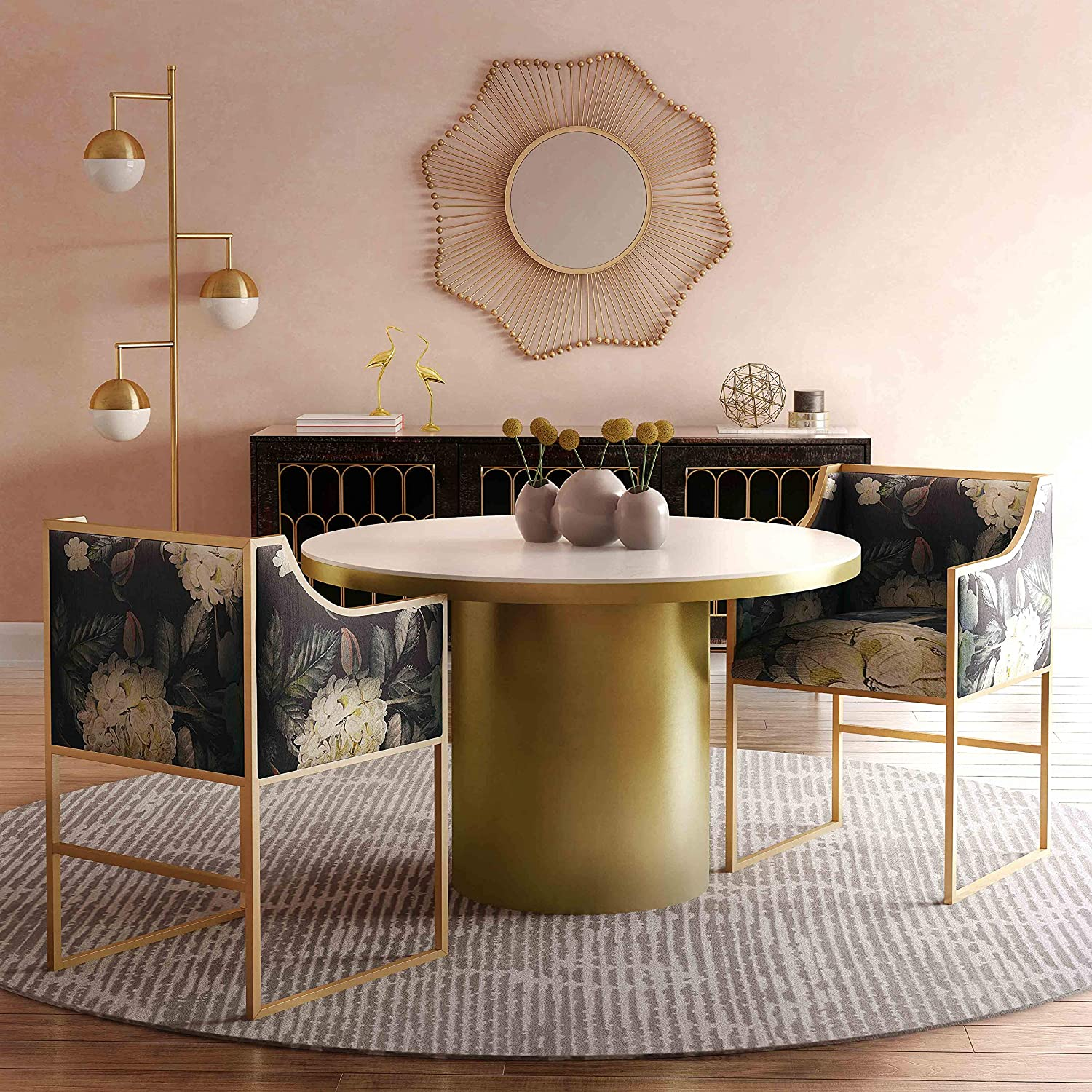 luxury-floral-upholstered-dining-chairs-for-glam-interior-theme-gold-frame-dark-flower-printed-fabric-backrest-armrests-square-shape