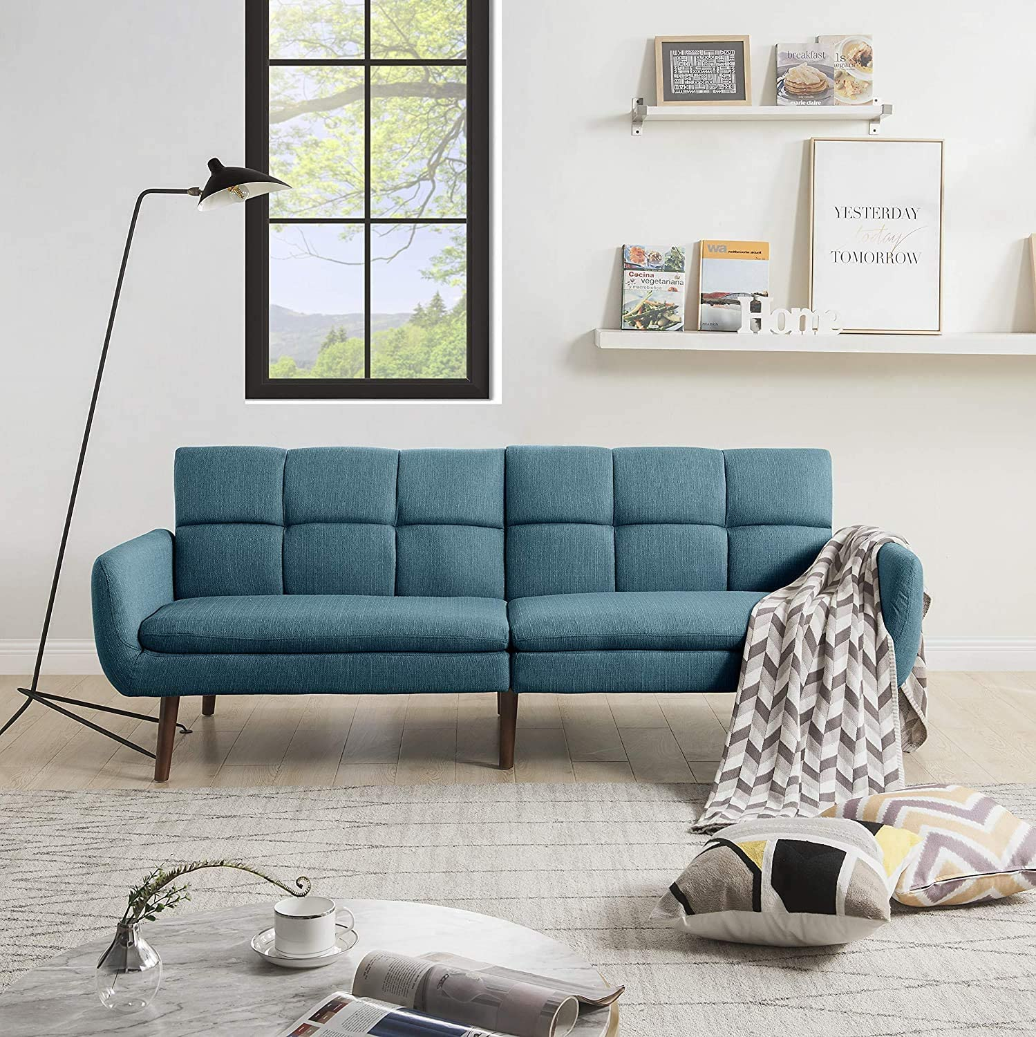 modern-blue-sleeper-sofa-for-small-spaces-tufted-backrest-wood-legs-mid-century-modern-furniture-ideas-for-tiny-home