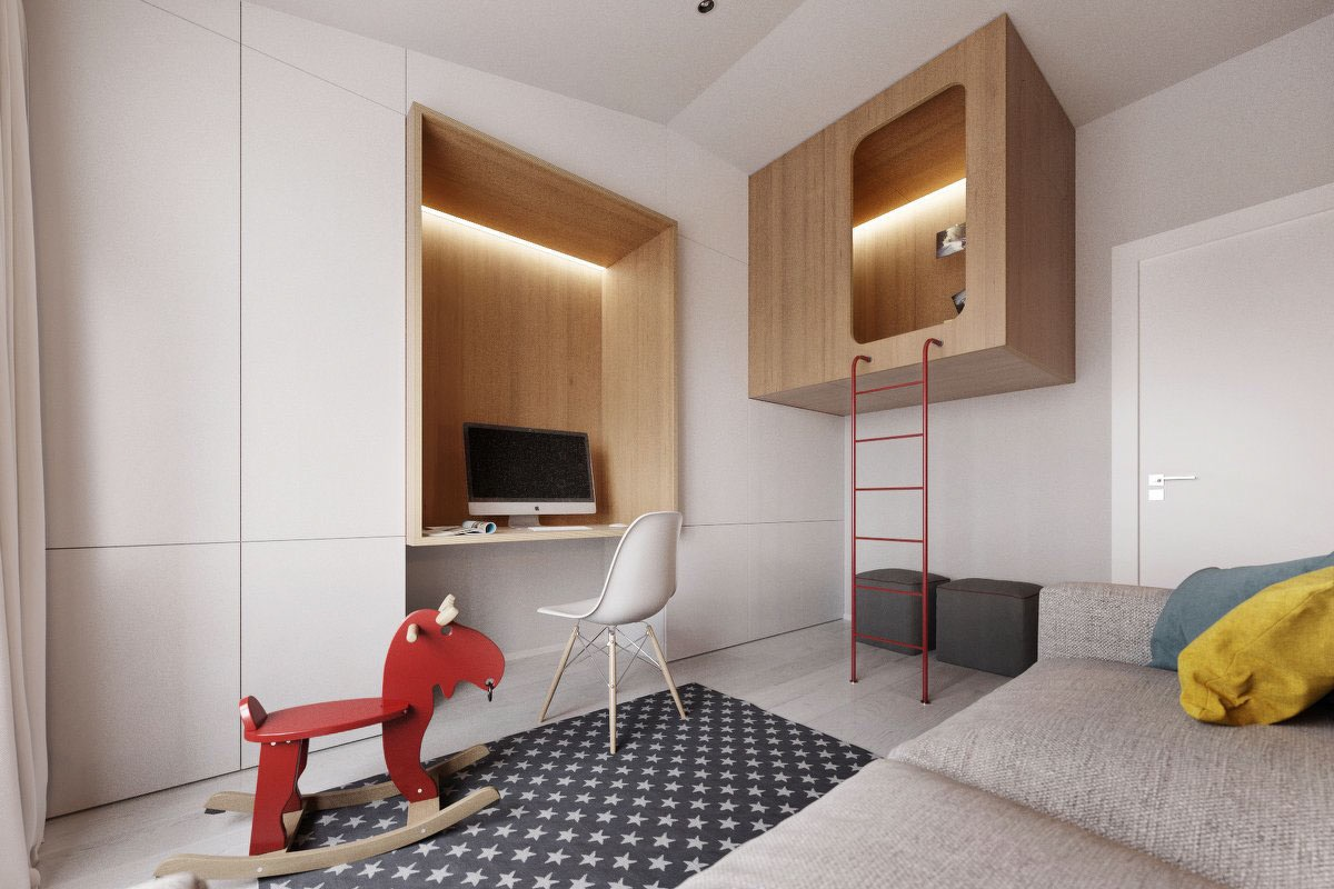 red-accent-kids-room