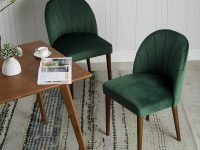 retro-upholstered-dining-room-chairs-with-dark-green-velvet-upholstery-tapered-wooden-legs-channel-tufted-back-art-deco-dining-room-furniture