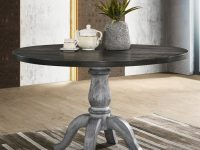 round-farmhouse-dining-table-distressed-grey-pedestal-base-dark-wood-top-47-inch-tabletop-classic-design-for-rustic-interior-themes