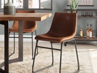 rustic-upholstered-dining-chairs-faux-leather-fabric-gunmetal-grey-sled-base-furniture-inspiration-for-industrial-dining-room-theme