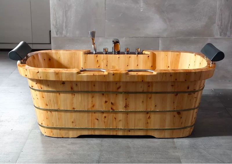 rustic-wooden-bathtub-with-headrests-and-built-in-shower
