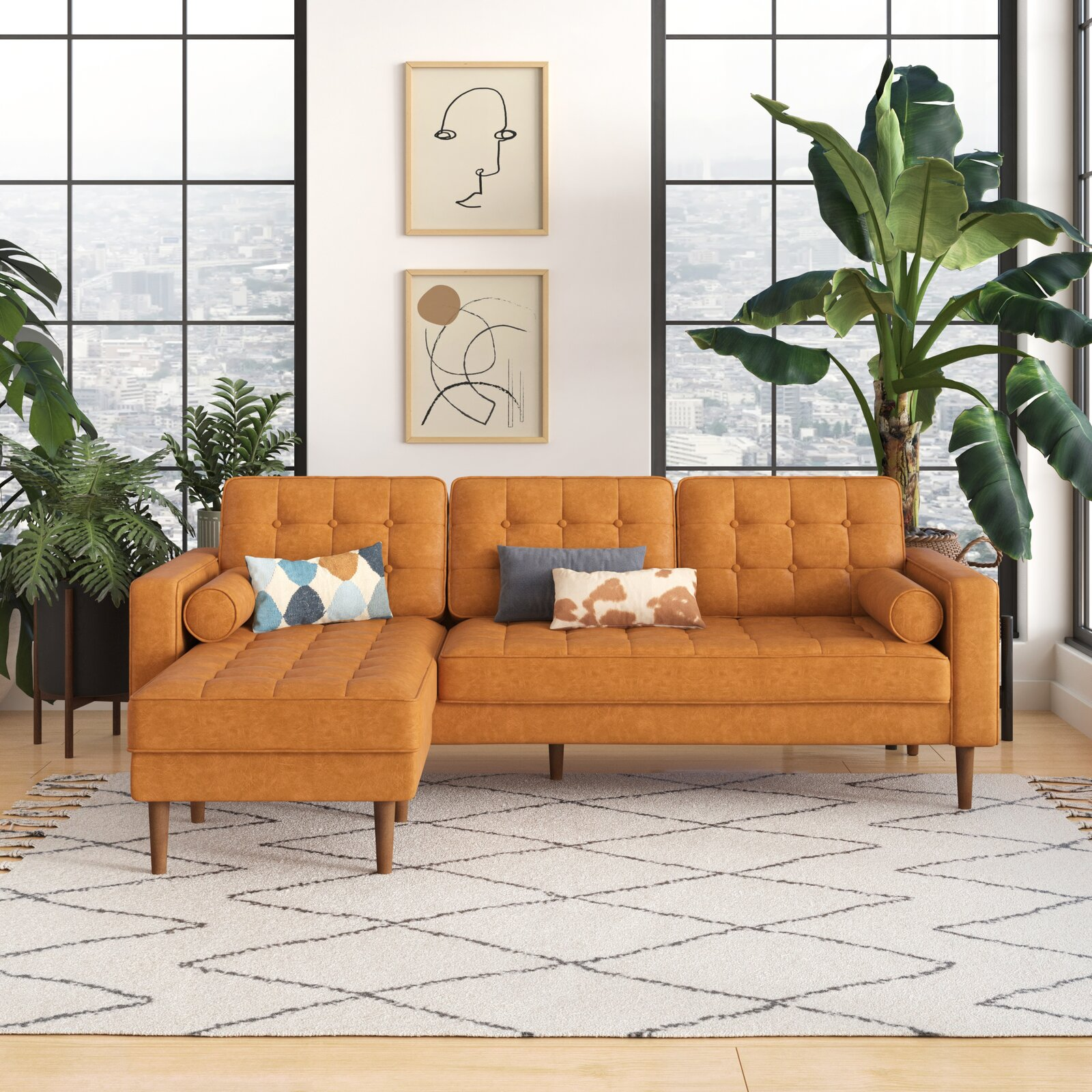 sectional-sofa-for-small-rooms-bright-orange-camel-vegan-leather-upholstery-cylindrical-bolster-pillows-tufted-back-85-inch-couch-with-chaise