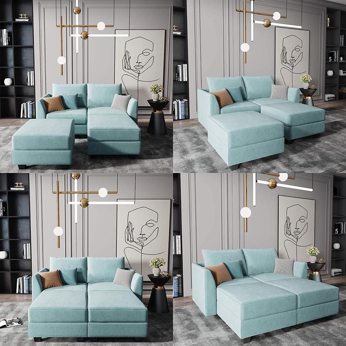 small-aqua-blue-modular-sofa-with-ottoman