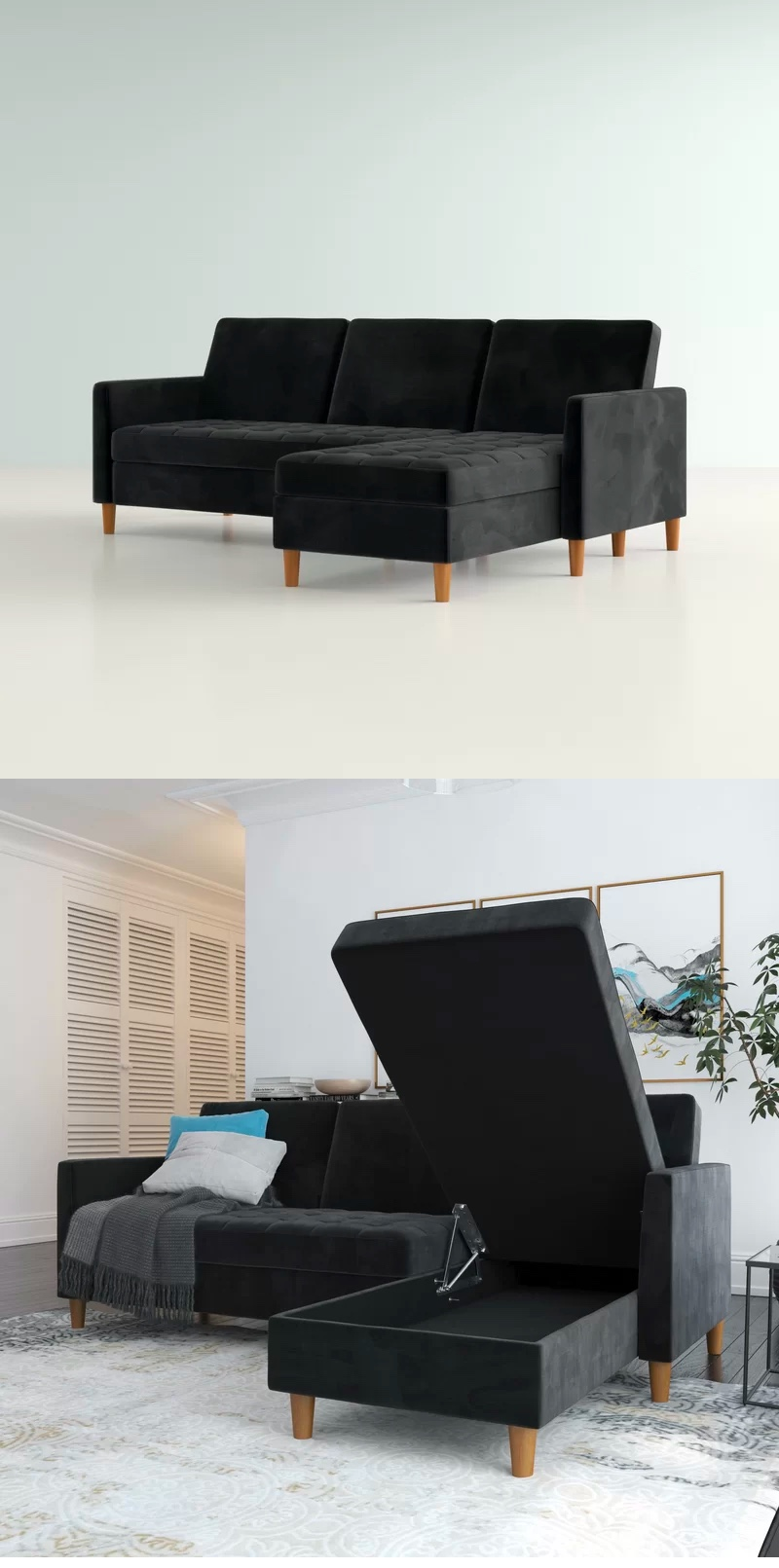 small-black-sectional-sofa
