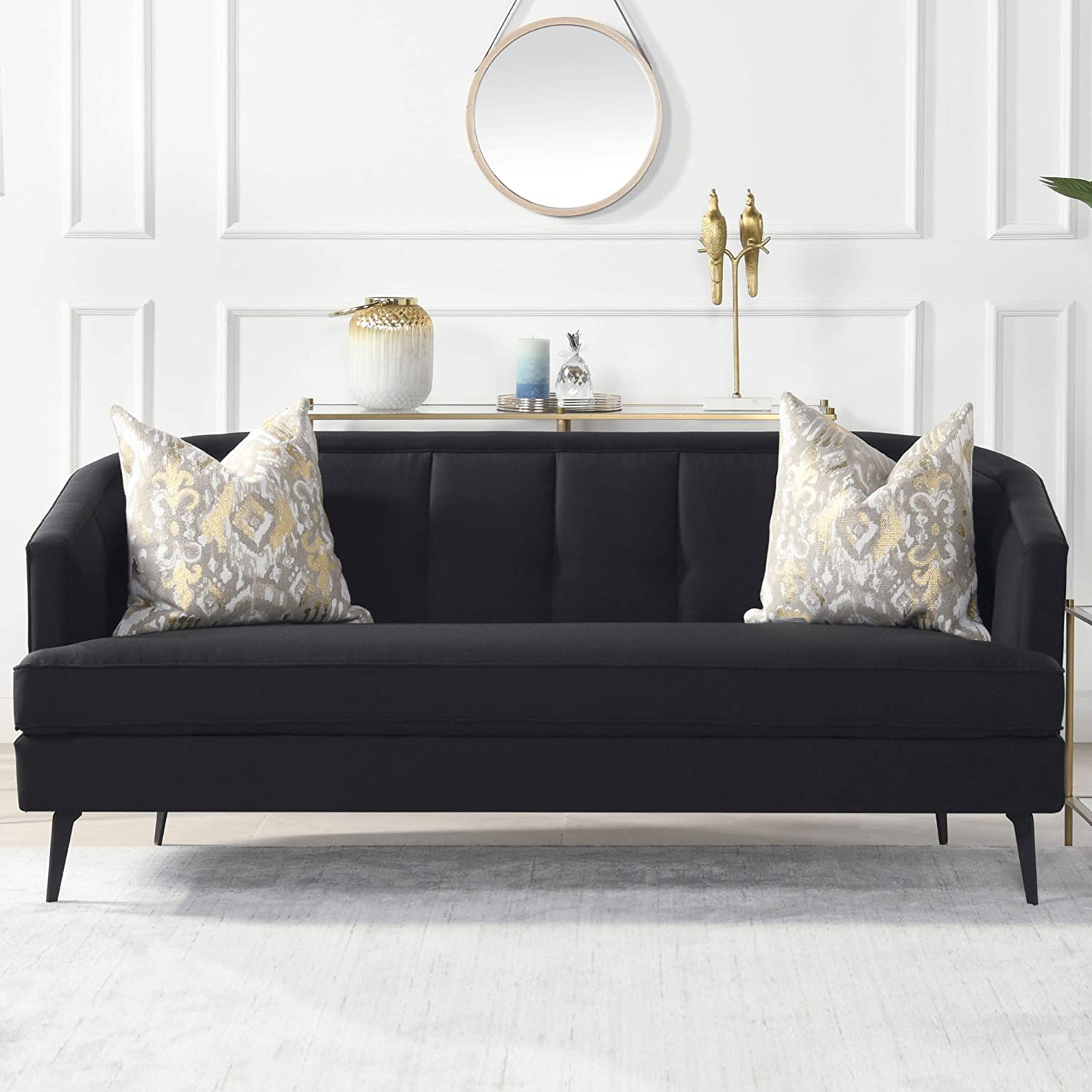 small-black-sofa-with-cabriole-back-channel-tufting-elegant-furniture-for-small-floor-plan-modern-homes