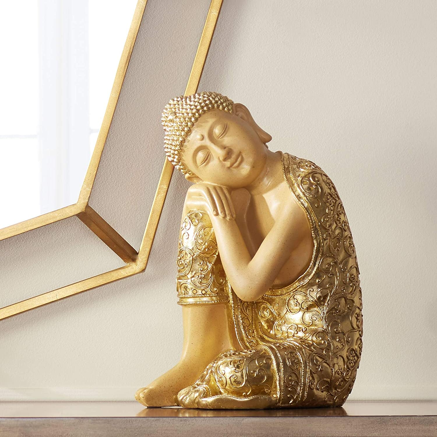 small-buddha-statue-gold-elegant-details-14-inch-height-peaceful-napping-posture-unique-gift-idea-for-buddhists
