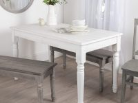 small-farmhouse-dining-table-bright-white-finish-distressed-details-plank-wood-top-cottage-chic-dining-room-furniture-ideas