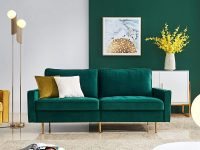 small-loveseat-sofa-emerald-green-velvet-upholstery-gold-legs-71-inch-width-space-saving-furniture-ideas