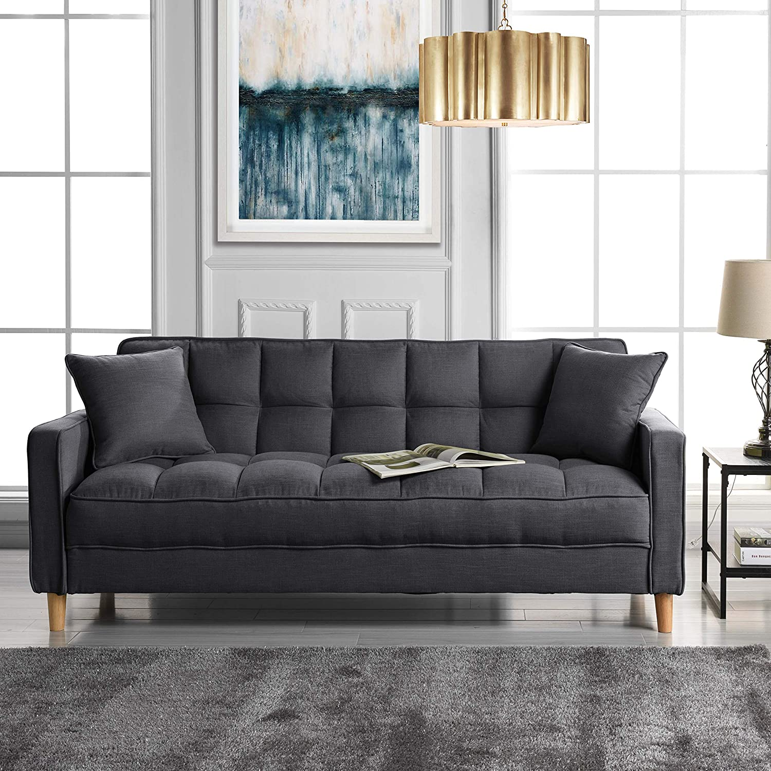 small-sofa-for-sale-grey-fabric-upholstery-with-tufting-bench-seat-tight-back-tapered-legs-modern-space-saving-furniture-for-living-room
