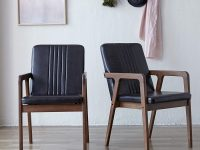 solid-wood-upholstered-dining-chairs-black-faux-leather-padded-seat-and-backrest-bold-furniture-for-retro-dining-room-theme