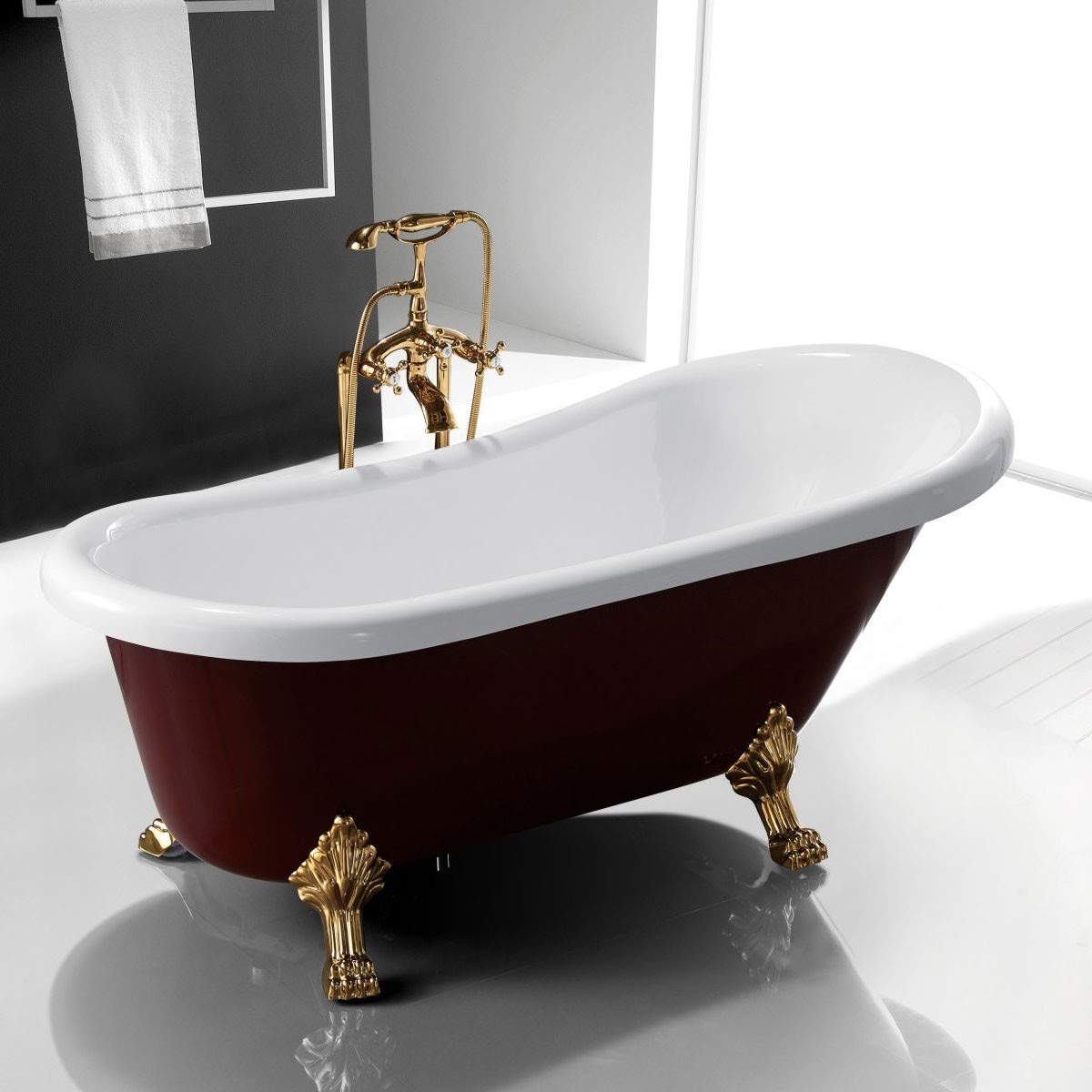 sophisticated-red-clawfoot-bathtub-with-gold-feet-white-interior-burgundy-exterior