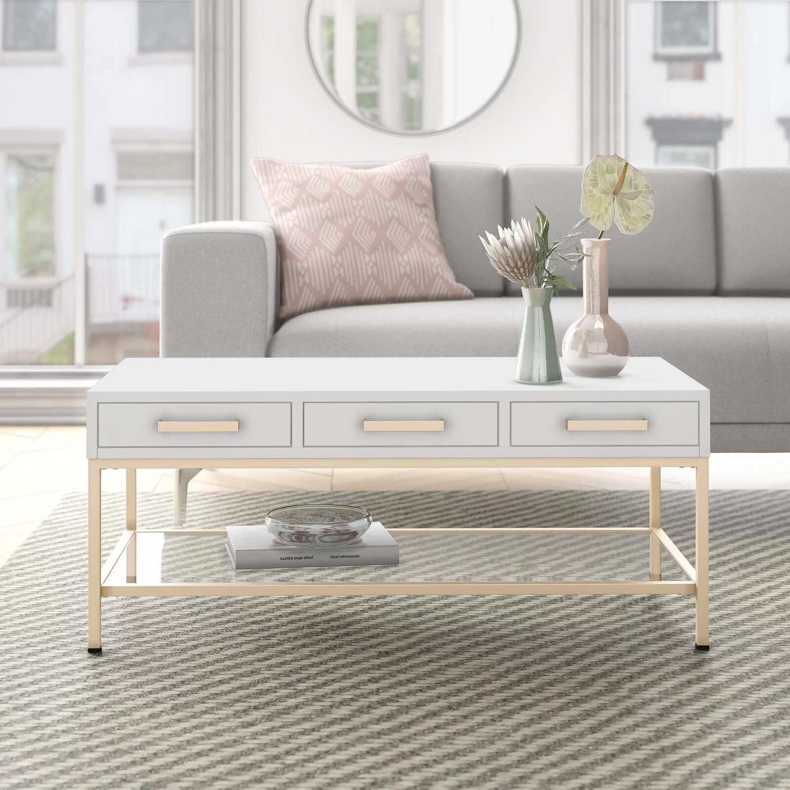 sophisticated-white-coffee-table-with-drawers-gold-base-glass-lower-shelf-gold-handles-cute-small-space-furniture-ideas