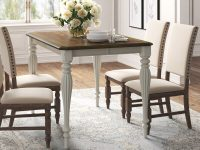 square-farmhouse-dining-table-French-country-furniture-for-sale-online-white-base-with-ornate-tapered-legs-dark-wood-top-butterfly-leaf