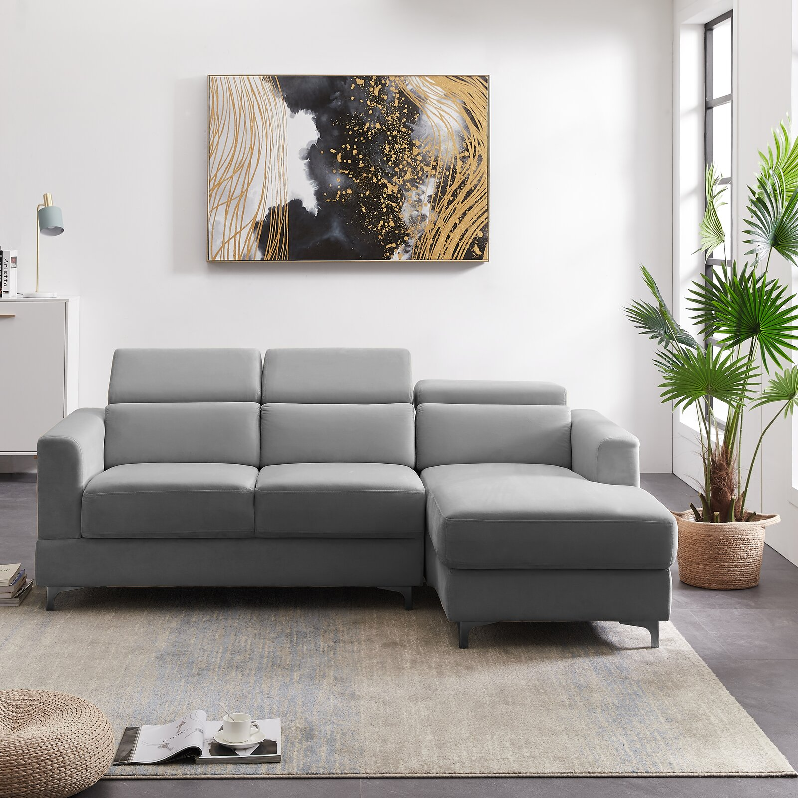 super-modern-small-grey-sectional-sofa-with-adjustable-headrests-84-inch-couch-with-chaise-grey-velvet-upholstery